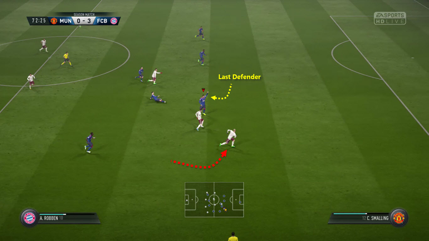 a player who is in an offside position on a soccer field